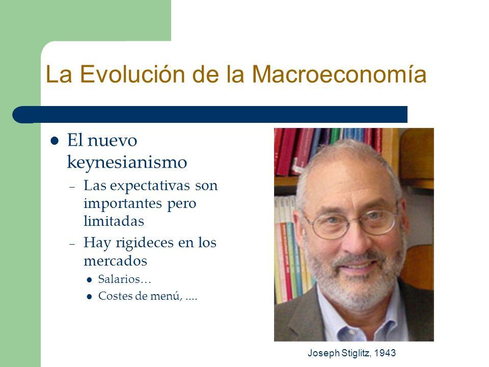 El nuevo keynesianismo – Las expectativas son importantes pero limitadas – Hay rigideces en los mercados Salarios… Costes de menú,.... Joseph Stiglitz