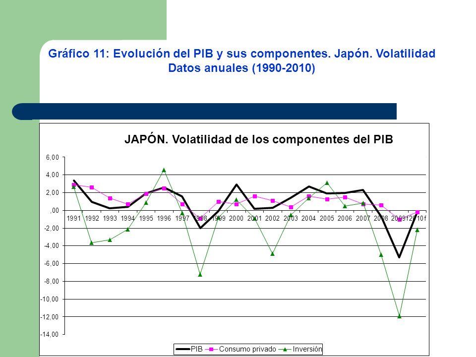 Gráfico 11: Evolución del PIB y sus componentes. Japón. Volatilidad Datos anuales (1990-2010)