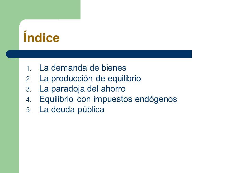 Índice 1. La demanda de bienes 2. La producción de equilibrio 3. La paradoja del ahorro 4. Equilibrio con impuestos endógenos 5. La deuda pública
