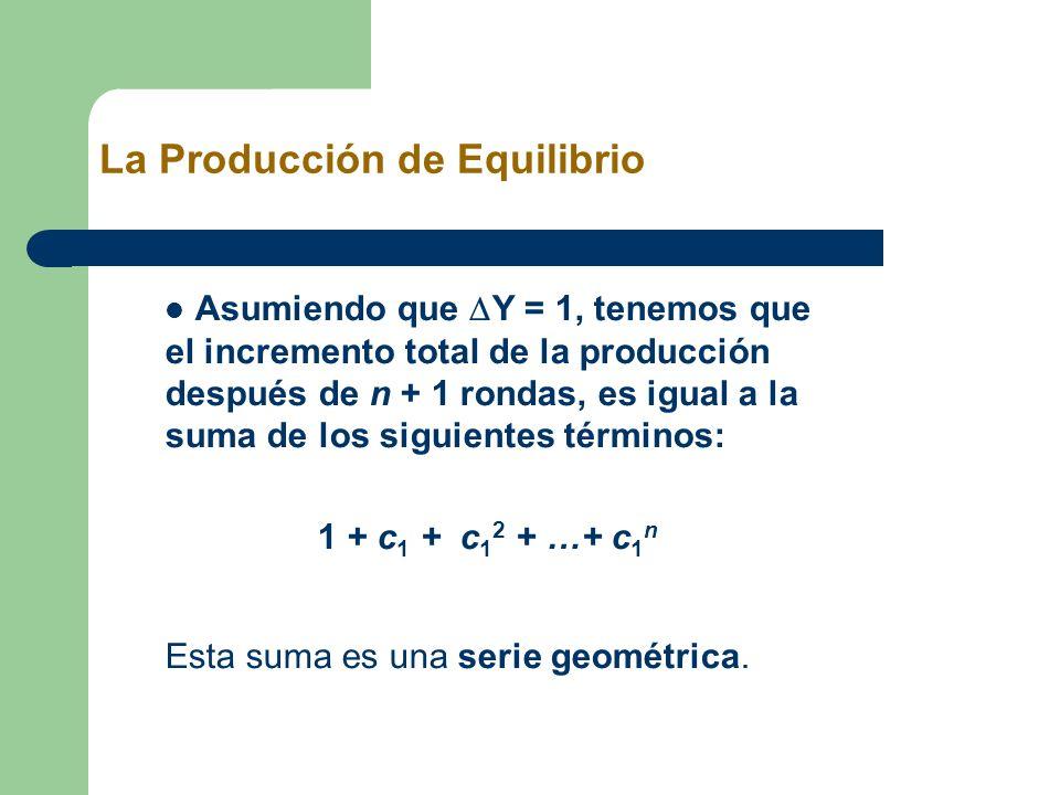 Asumiendo que Y = 1, tenemos que el incremento total de la producción después de n + 1 rondas, es igual a la suma de los siguientes términos: 1 + c 1