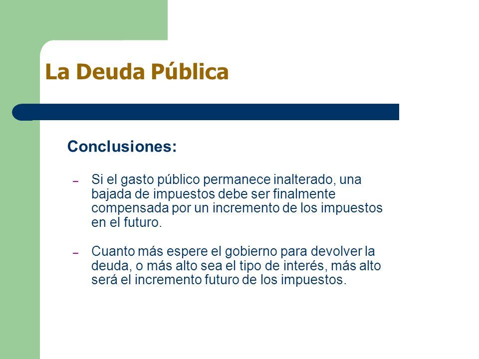 Conclusiones: – Si el gasto público permanece inalterado, una bajada de impuestos debe ser finalmente compensada por un incremento de los impuestos en