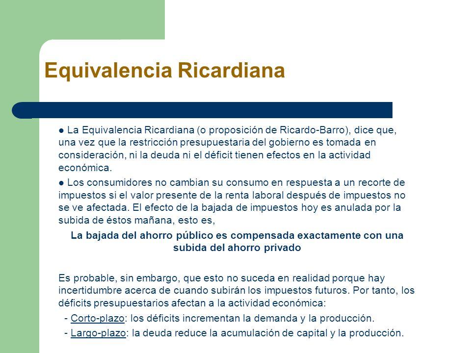 Equivalencia Ricardiana La Equivalencia Ricardiana (o proposición de Ricardo-Barro), dice que, una vez que la restricción presupuestaria del gobierno