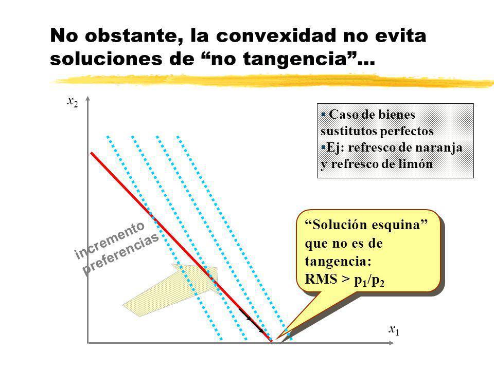 incremento preferencias x1x1 x2x2 No obstante, la convexidad no evita soluciones de no tangencia... Solución esquina que no es de tangencia: RMS > p 1