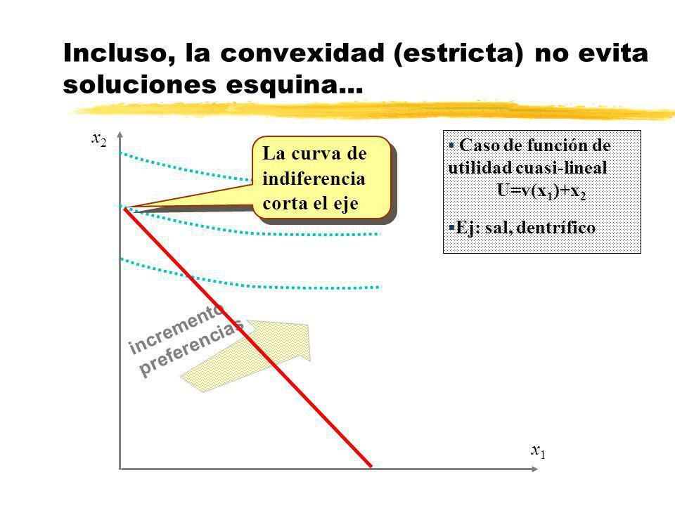 incremento preferencias x1x1 x2x2 Incluso, la convexidad (estricta) no evita soluciones esquina... La curva de indiferencia corta el eje Caso de funci