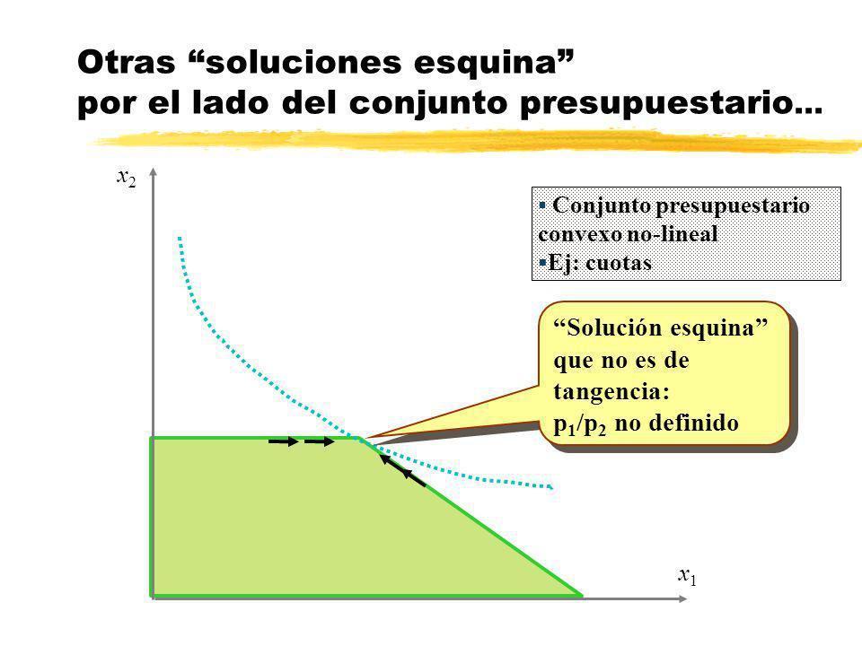 x1x1 x2x2 Otras soluciones esquina por el lado del conjunto presupuestario... Solución esquina que no es de tangencia: p 1 /p 2 no definido Solución e