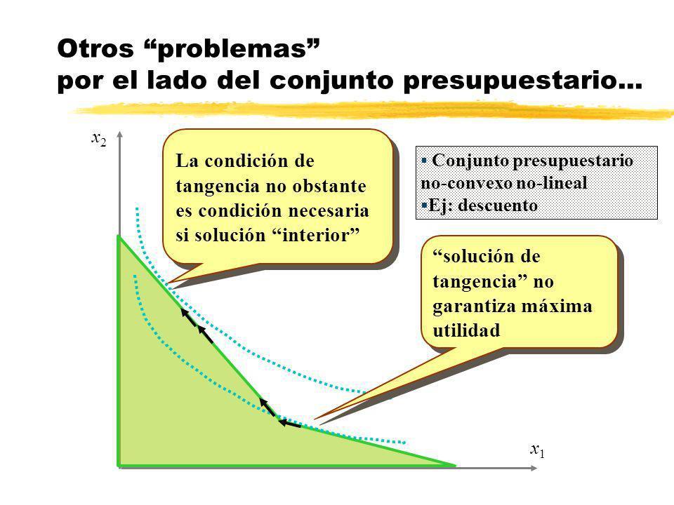 x1x1 x2x2 Otros problemas por el lado del conjunto presupuestario... solución de tangencia no garantiza máxima utilidad Conjunto presupuestario no-con