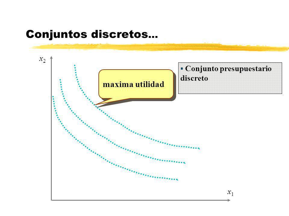 x1x1 x2x2 Conjuntos discretos... Conjunto presupuestario discreto maxima utilidad