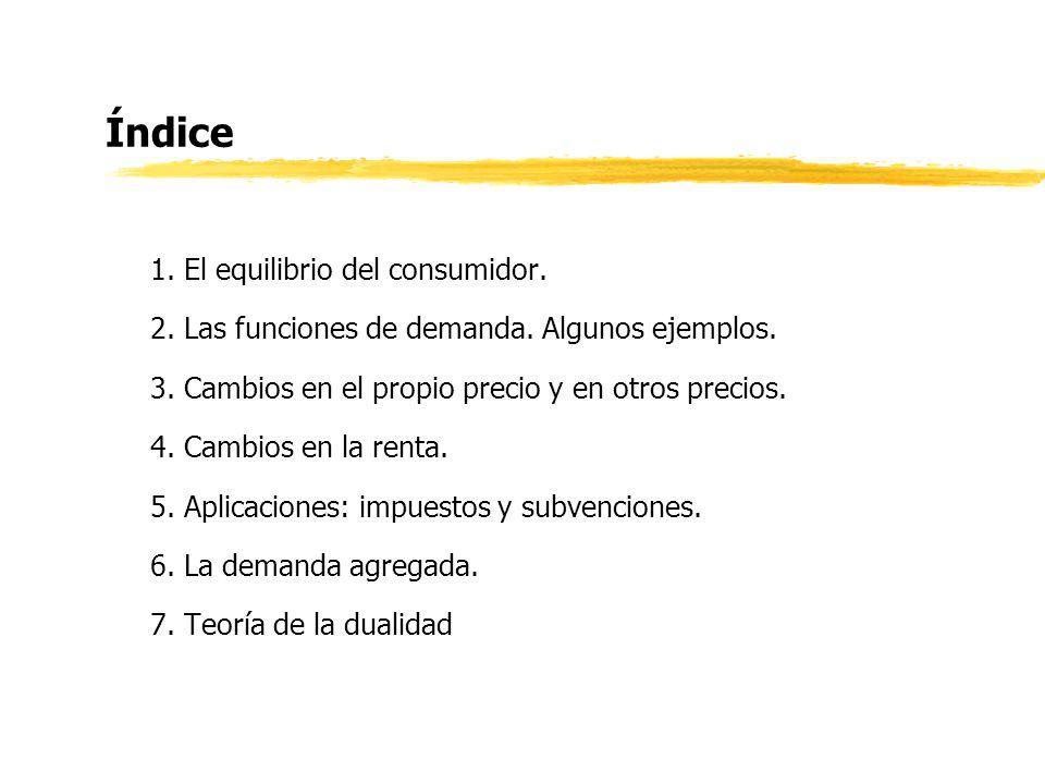 Índice 1. El equilibrio del consumidor. 2. Las funciones de demanda. Algunos ejemplos. 3. Cambios en el propio precio y en otros precios. 4. Cambios e