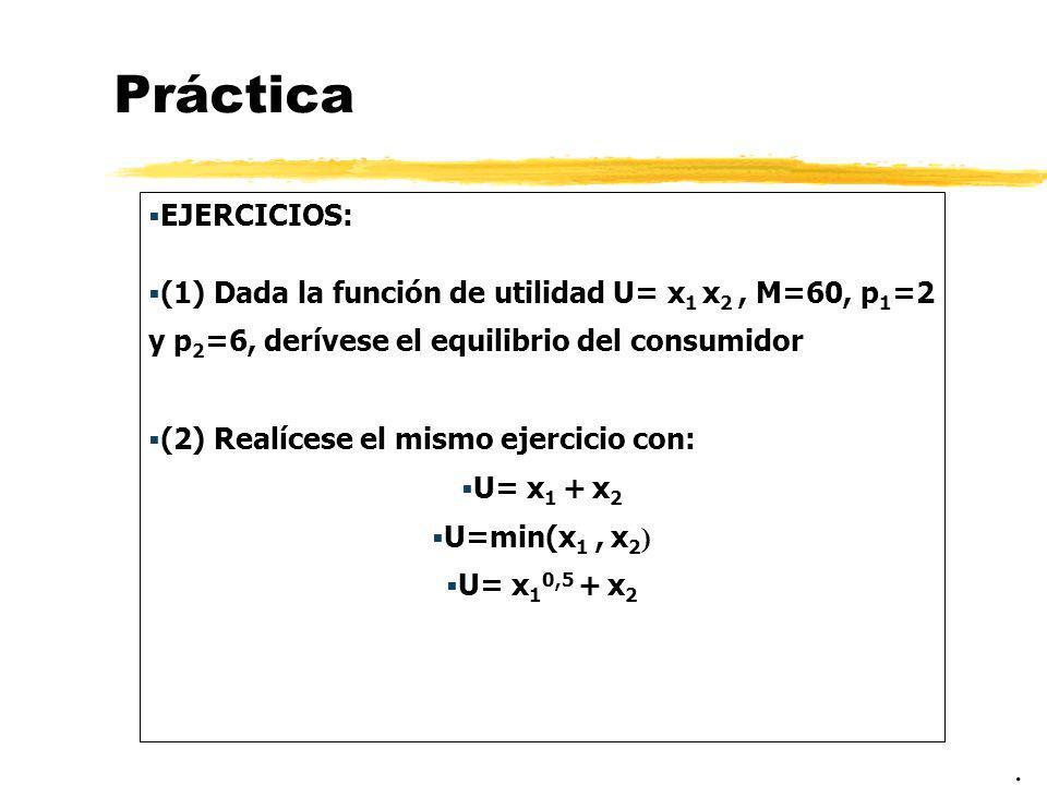 Práctica EJERCICIOS: (1) Dada la función de utilidad U= x 1 x 2, M=60, p 1 =2 y p 2 =6, derívese el equilibrio del consumidor (2) Realícese el mismo e