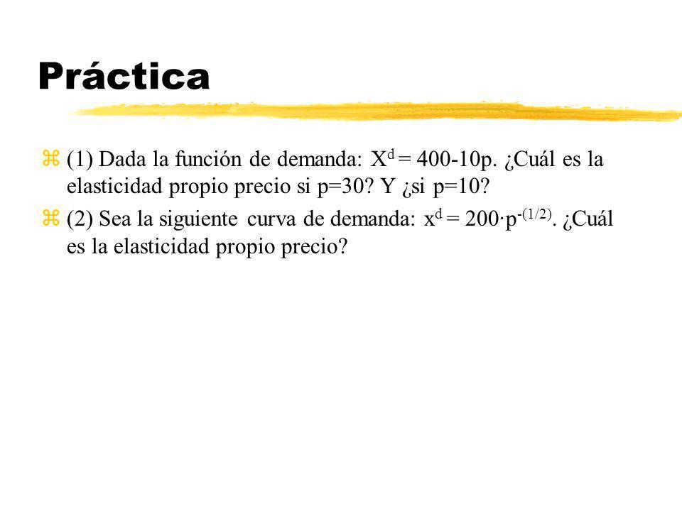 Práctica z(1) Dada la función de demanda: X d = 400-10p. ¿Cuál es la elasticidad propio precio si p=30? Y ¿si p=10? z(2) Sea la siguiente curva de dem