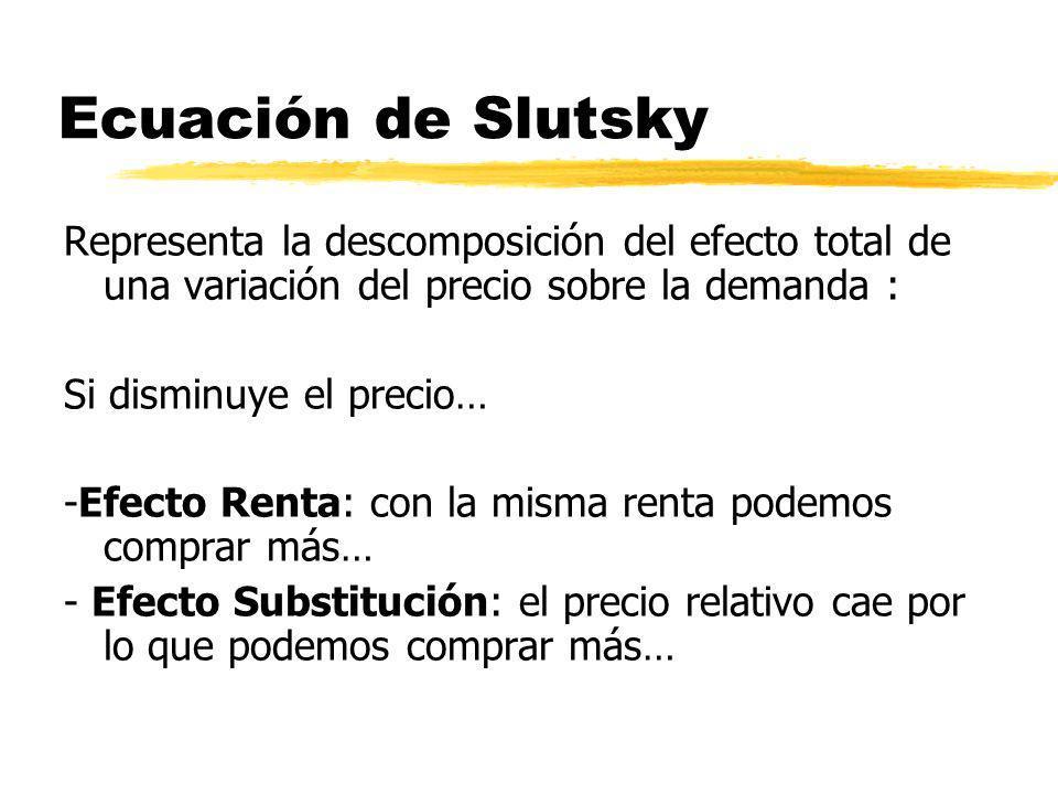 Ecuación de Slutsky Representa la descomposición del efecto total de una variación del precio sobre la demanda : Si disminuye el precio… -Efecto Renta