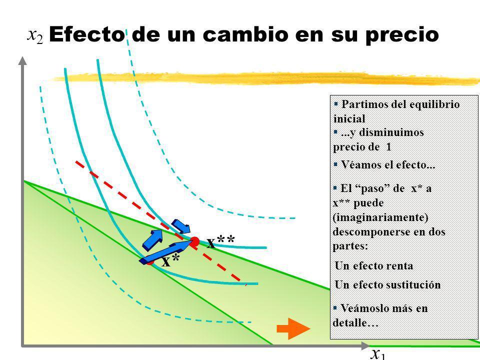 l x* l x** x1x1 x2x2 Partimos del equilibrio inicial...y disminuimos precio de 1 Efecto de un cambio en su precio Véamos el efecto... El paso de x* a