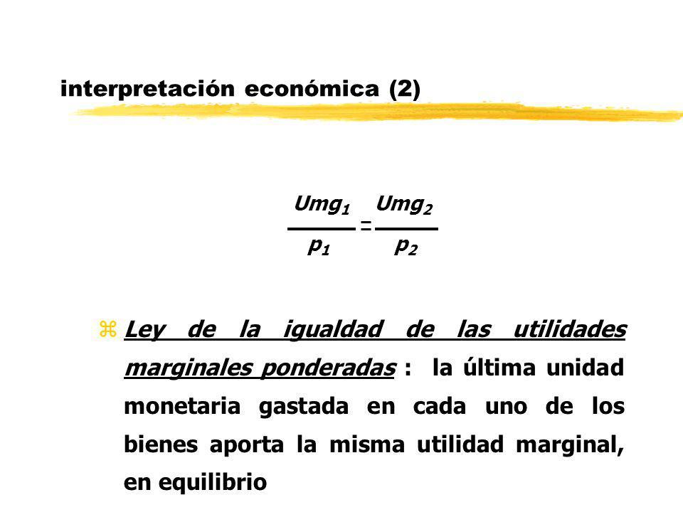 interpretación económica (2) Umg 1 Umg 2 p 1 p 2 zLey de la igualdad de las utilidades marginales ponderadas : la última unidad monetaria gastada en c