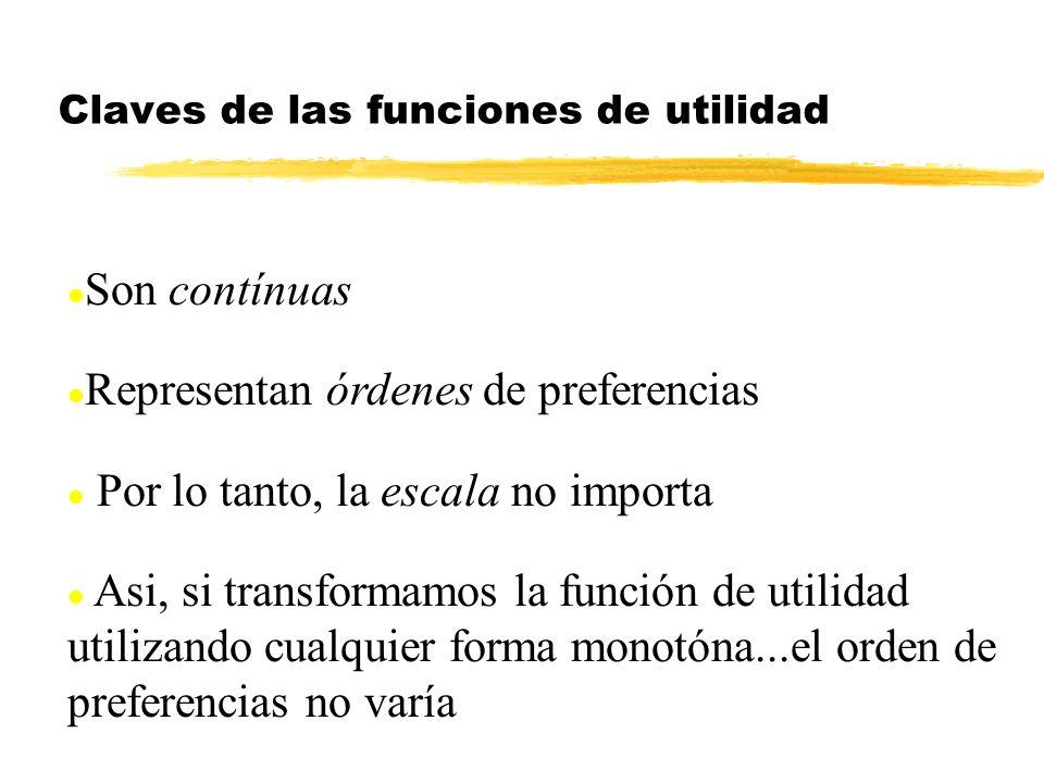 l Son contínuas l Representan órdenes de preferencias l Por lo tanto, la escala no importa l Asi, si transformamos la función de utilidad utilizando c