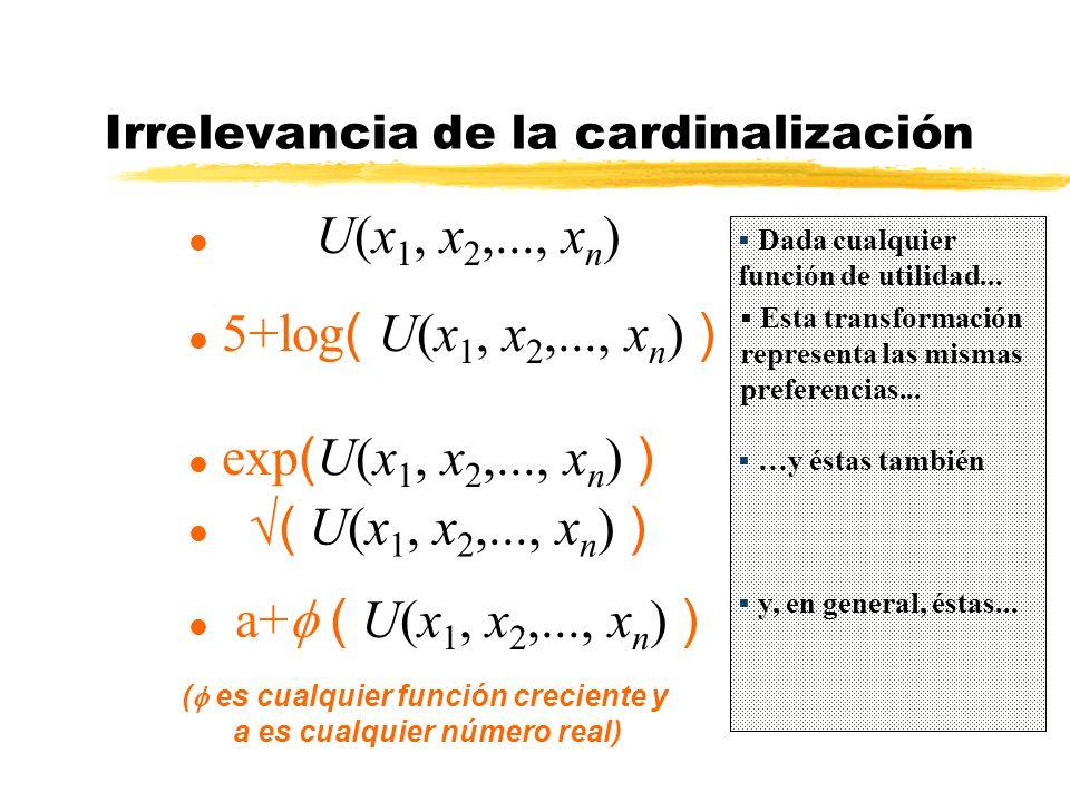 Irrelevancia de la cardinalización Dada cualquier función de utilidad... y, en general, éstas... ( es cualquier función creciente y a es cualquier núm