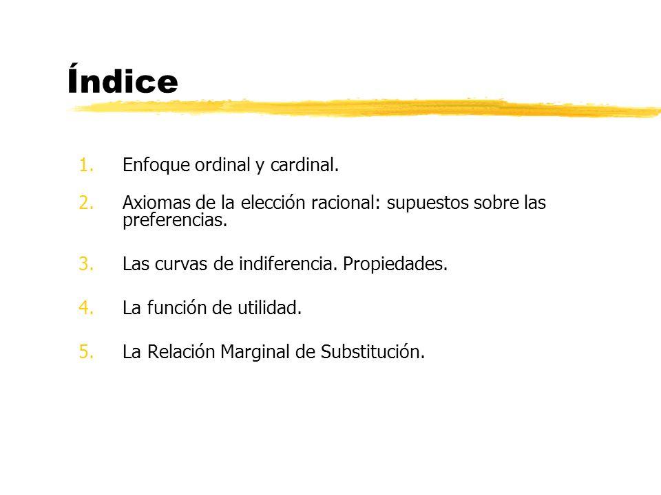 Índice 1.Enfoque ordinal y cardinal. 2.Axiomas de la elección racional: supuestos sobre las preferencias. 3.Las curvas de indiferencia. Propiedades. 4