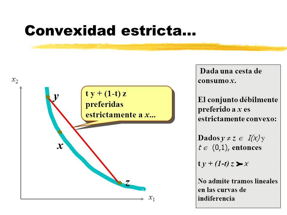 Convexidad estricta... Dada una cesta de consumo x. El conjunto débilmente preferido a x es estrictamente convexo: Dados y z I(x) y t (0,1), entonces