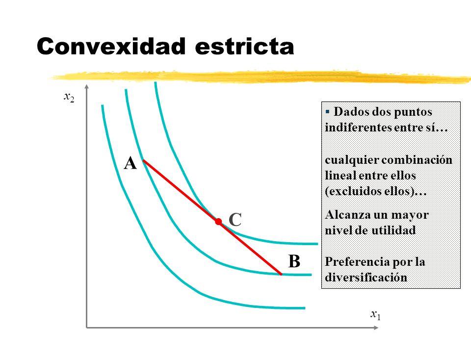 Dados dos puntos indiferentes entre sí… cualquier combinación lineal entre ellos (excluidos ellos)… x1x1 x2x2 A B l C Alcanza un mayor nivel de utilid