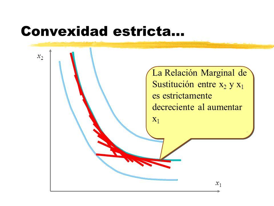x1x1 x2x2 La Relación Marginal de Sustitución entre x 2 y x 1 es estrictamente decreciente al aumentar x 1. La Relación Marginal de Sustitución entre