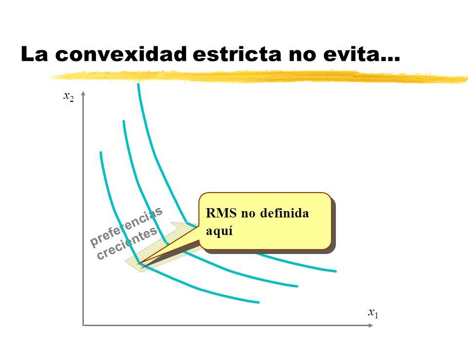 La convexidad estricta no evita... preferencias crecientes x1x1 x2x2 RMS no definida aquí