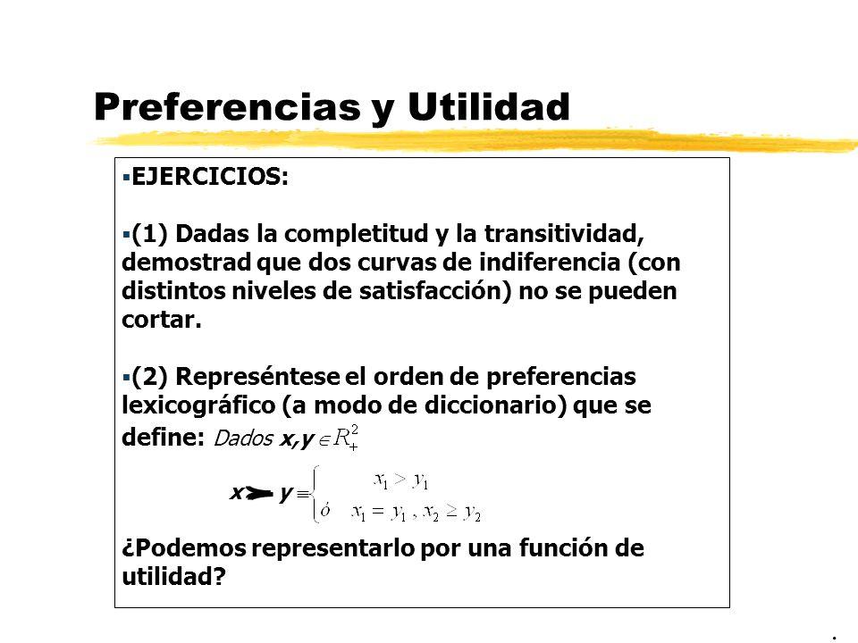 Preferencias y Utilidad EJERCICIOS: (1) Dadas la completitud y la transitividad, demostrad que dos curvas de indiferencia (con distintos niveles de sa