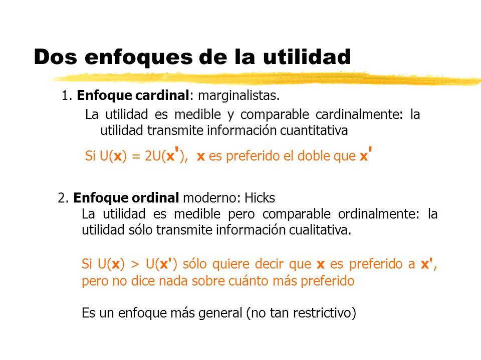 Dos enfoques de la utilidad 1. Enfoque cardinal: marginalistas. La utilidad es medible y comparable cardinalmente: la utilidad transmite información c