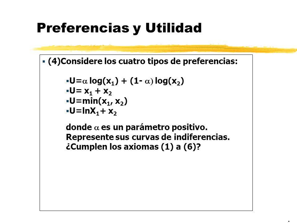 Preferencias y Utilidad (4)Considere los cuatro tipos de preferencias: U= log(x 1 ) + (1- log(x 2 ) U= x 1 + x 2 U=min(x 1, x 2 ) U=lnX 1 + x 2 donde