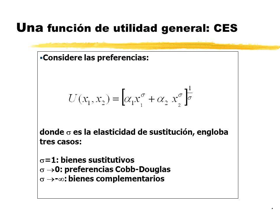 Una función de utilidad general: CES. Considere las preferencias: donde es la elasticidad de sustitución, engloba tres casos: =1: bienes sustitutivos