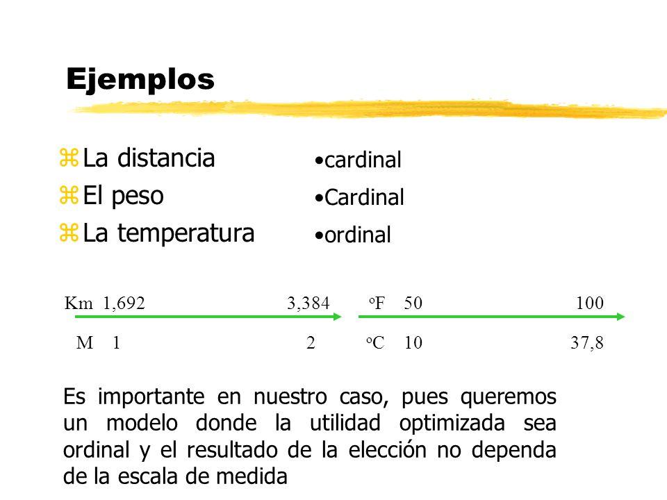 Ejemplos zLa distancia zEl peso zLa temperatura cardinal Cardinal ordinal o F 50 100 o C 10 37,8 Es importante en nuestro caso, pues queremos un model