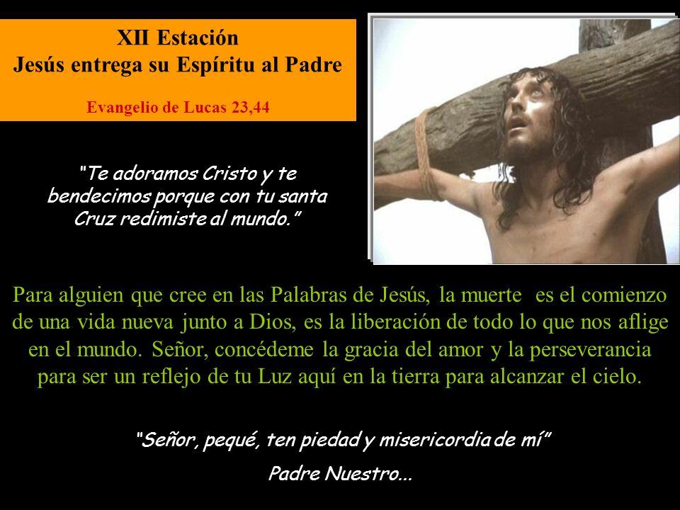 XI Estación Jesús es clavado en la Cruz Evangelio de Juan 19,25 Señor, pequé, ten piedad y misericordia de mí Padre Nuestro... Es el momento más dolor