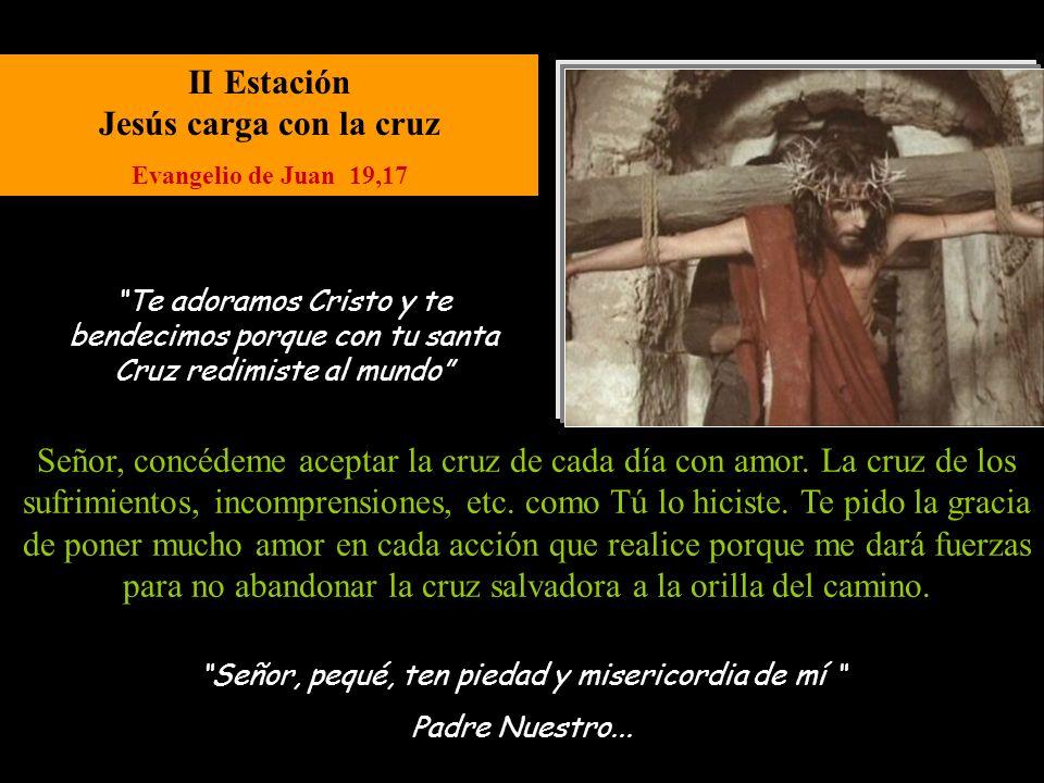 XII Estación Jesús entrega su Espíritu al Padre Evangelio de Lucas 23,44 Señor, pequé, ten piedad y misericordia de mí Padre Nuestro...