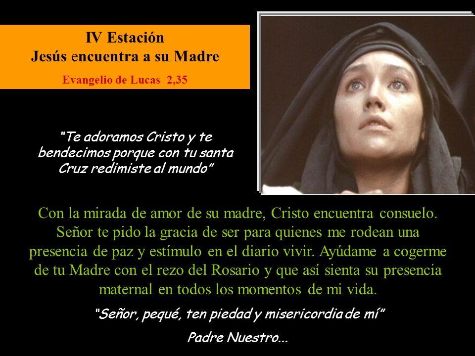 IV Estación Jesús encuentra a su Madre Evangelio de Lucas 2,35 Señor, pequé, ten piedad y misericordia de mí Padre Nuestro...