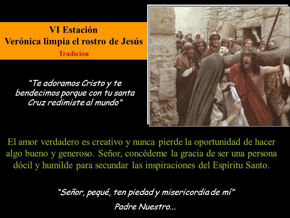 V Estación Jesús es ayudado por el Cirineo Evangelio de Lucas 23, 26 Señor, pequé, ten piedad y misericordia de mí Padre Nuestro... Muchas personas, s