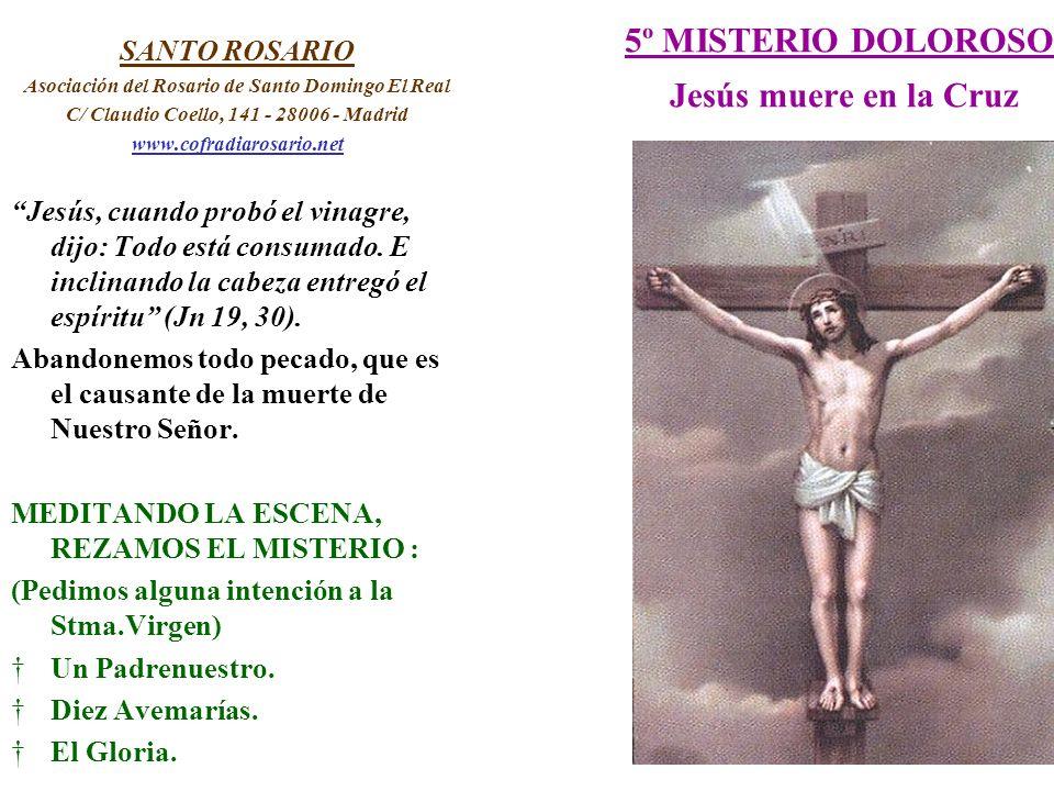 5º MISTERIO DOLOROSO Jesús muere en la Cruz SANTO ROSARIO Asociación del Rosario de Santo Domingo El Real C/ Claudio Coello, 141 - 28006 - Madrid www.