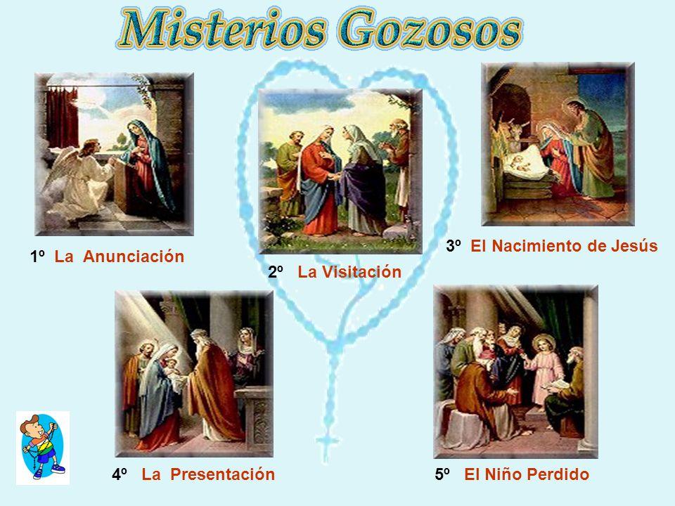 3º El Nacimiento de Jesús 4º La Presentación 5º El Niño Perdido 2º La Visitación 1º La Anunciación
