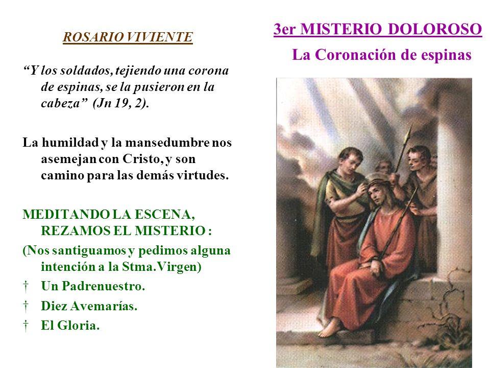 3er MISTERIO DOLOROSO La Coronación de espinas ROSARIO VIVIENTE Y los soldados, tejiendo una corona de espinas, se la pusieron en la cabeza (Jn 19, 2)