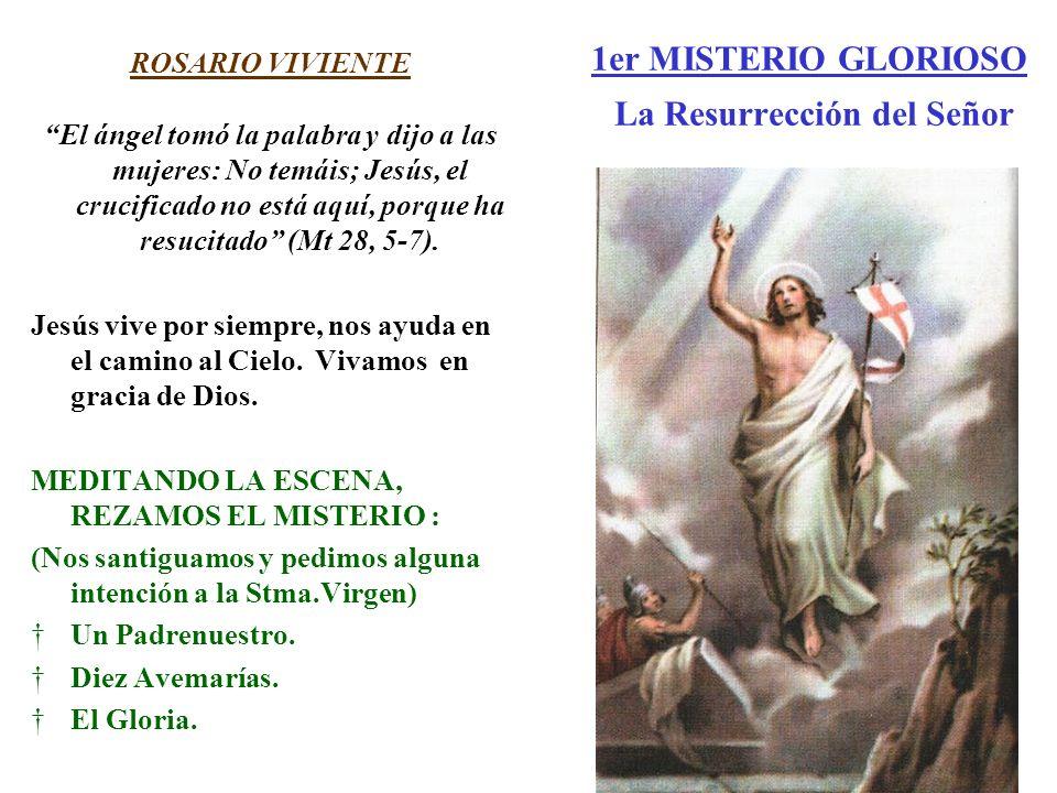 1er MISTERIO GLORIOSO La Resurrección del Señor ROSARIO VIVIENTE El ángel tomó la palabra y dijo a las mujeres: No temáis; Jesús, el crucificado no es