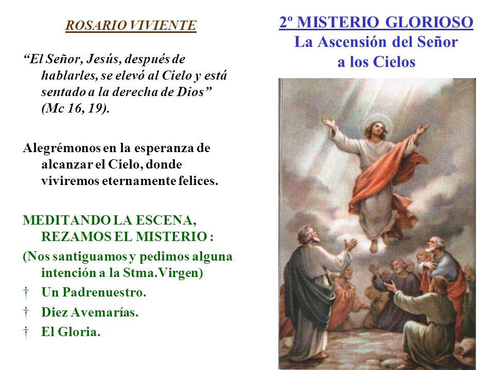 2º MISTERIO GLORIOSO La Ascensión del Señor a los Cielos ROSARIO VIVIENTE El Señor, Jesús, después de hablarles, se elevó al Cielo y está sentado a la