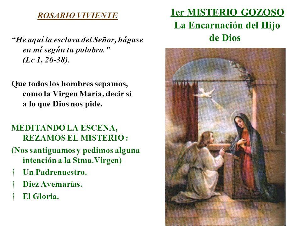 1er MISTERIO GOZOSO La Encarnación del Hijo de Dios ROSARIO VIVIENTE He aquí la esclava del Señor, hágase en mí según tu palabra. (Lc 1, 26-38). Que t