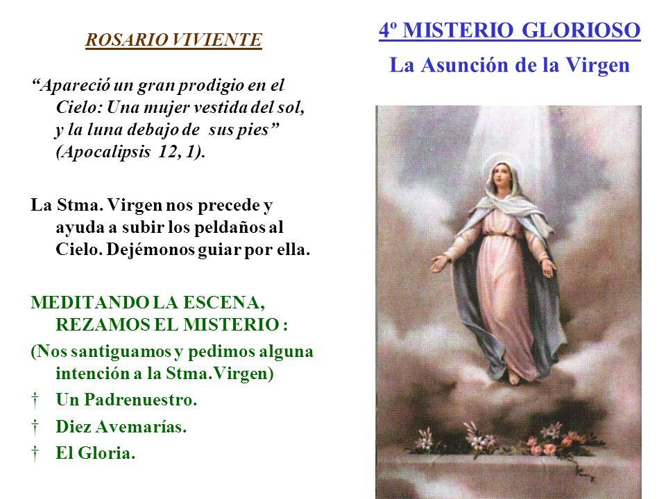 4º MISTERIO GLORIOSO La Asunción de la Virgen ROSARIO VIVIENTE Apareció un gran prodigio en el Cielo: Una mujer vestida del sol, y la luna debajo de s