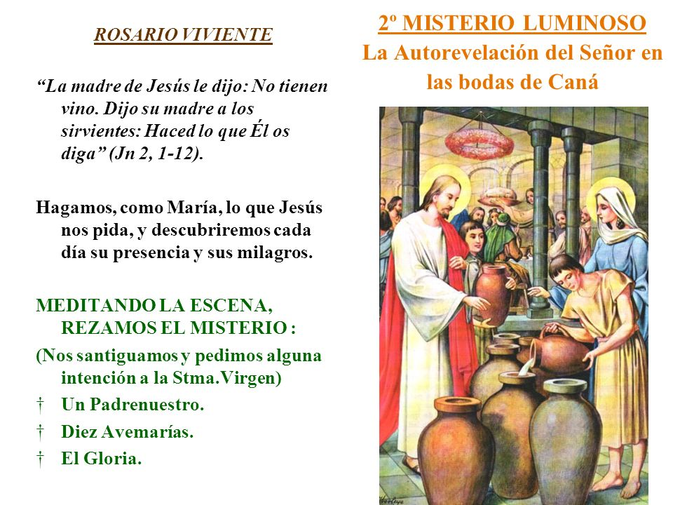 2º MISTERIO LUMINOSO La Autorevelación del Señor en las bodas de Caná ROSARIO VIVIENTE La madre de Jesús le dijo: No tienen vino. Dijo su madre a los