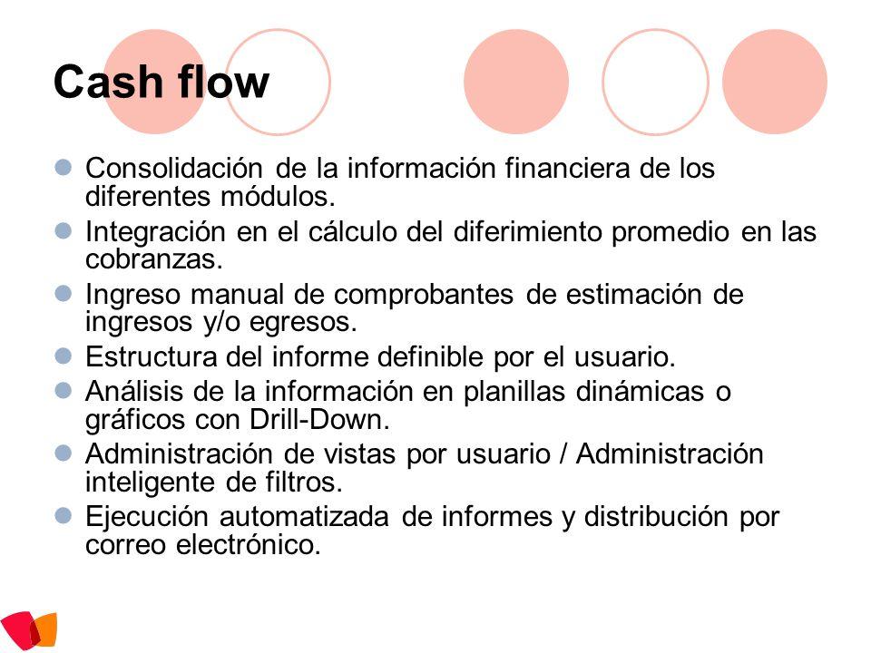 Cash flow Consolidación de la información financiera de los diferentes módulos. Integración en el cálculo del diferimiento promedio en las cobranzas.