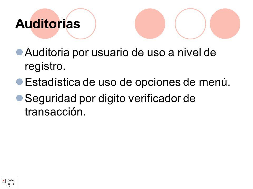 Auditorias Auditoria por usuario de uso a nivel de registro. Estadística de uso de opciones de menú. Seguridad por digito verificador de transacción.