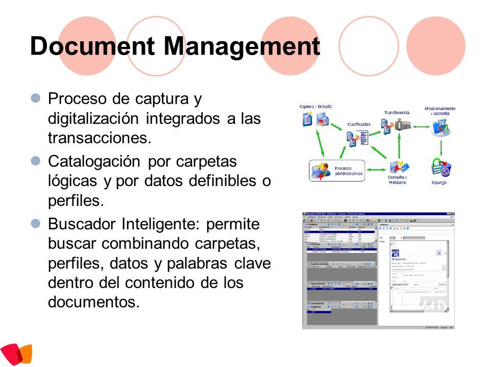 Document Management Proceso de captura y digitalización integrados a las transacciones. Catalogación por carpetas lógicas y por datos definibles o per