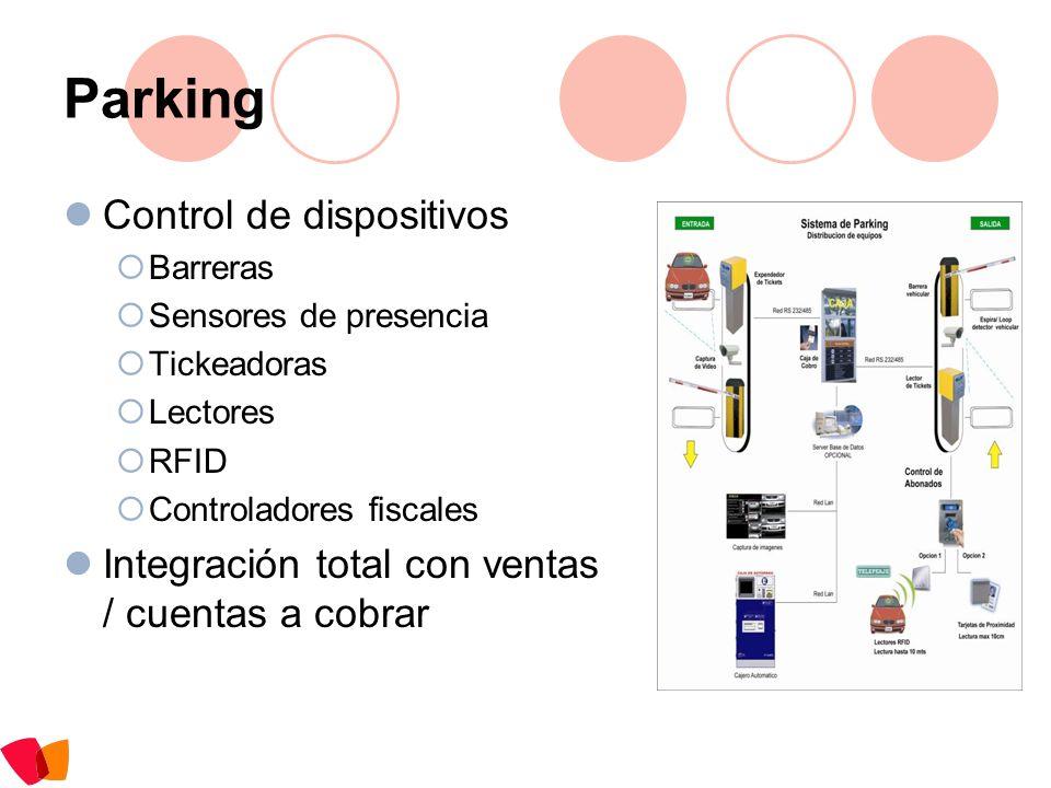 Parking Control de dispositivos Barreras Sensores de presencia Tickeadoras Lectores RFID Controladores fiscales Integración total con ventas / cuentas