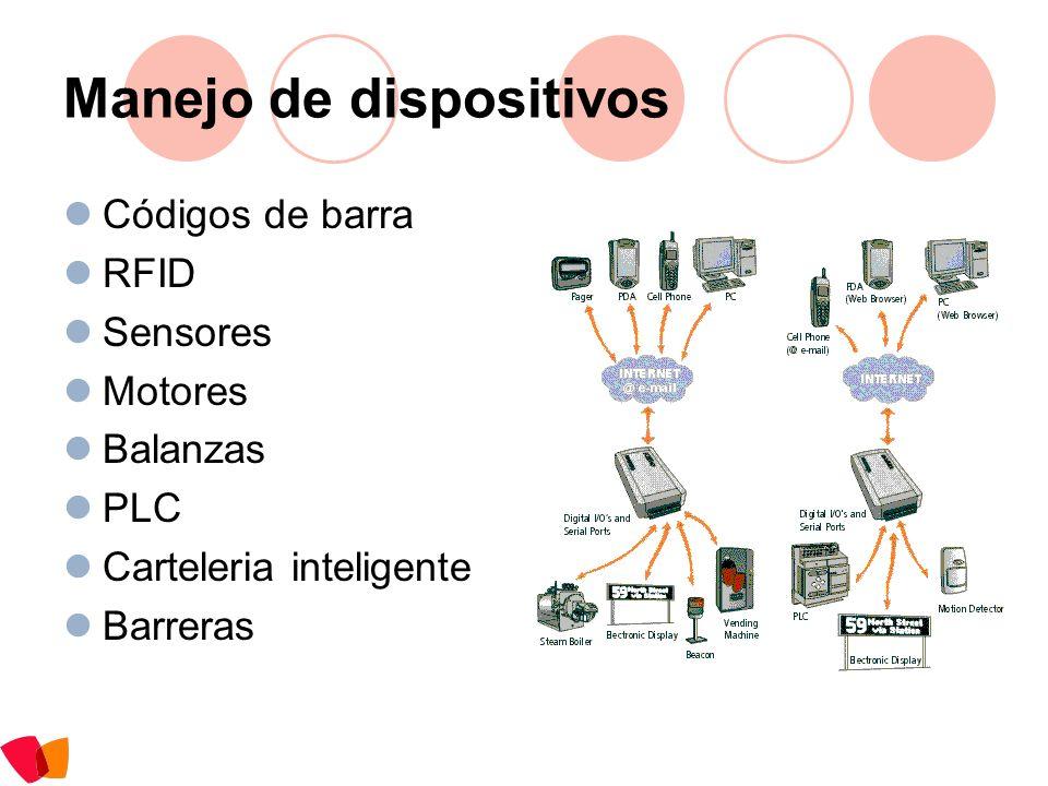Manejo de dispositivos Códigos de barra RFID Sensores Motores Balanzas PLC Carteleria inteligente Barreras