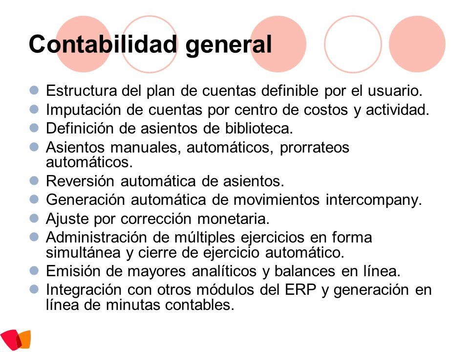 Contabilidad general Estructura del plan de cuentas definible por el usuario. Imputación de cuentas por centro de costos y actividad. Definición de as