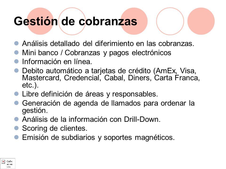 Gestión de cobranzas Análisis detallado del diferimiento en las cobranzas. Mini banco / Cobranzas y pagos electrónicos Información en línea. Debito au
