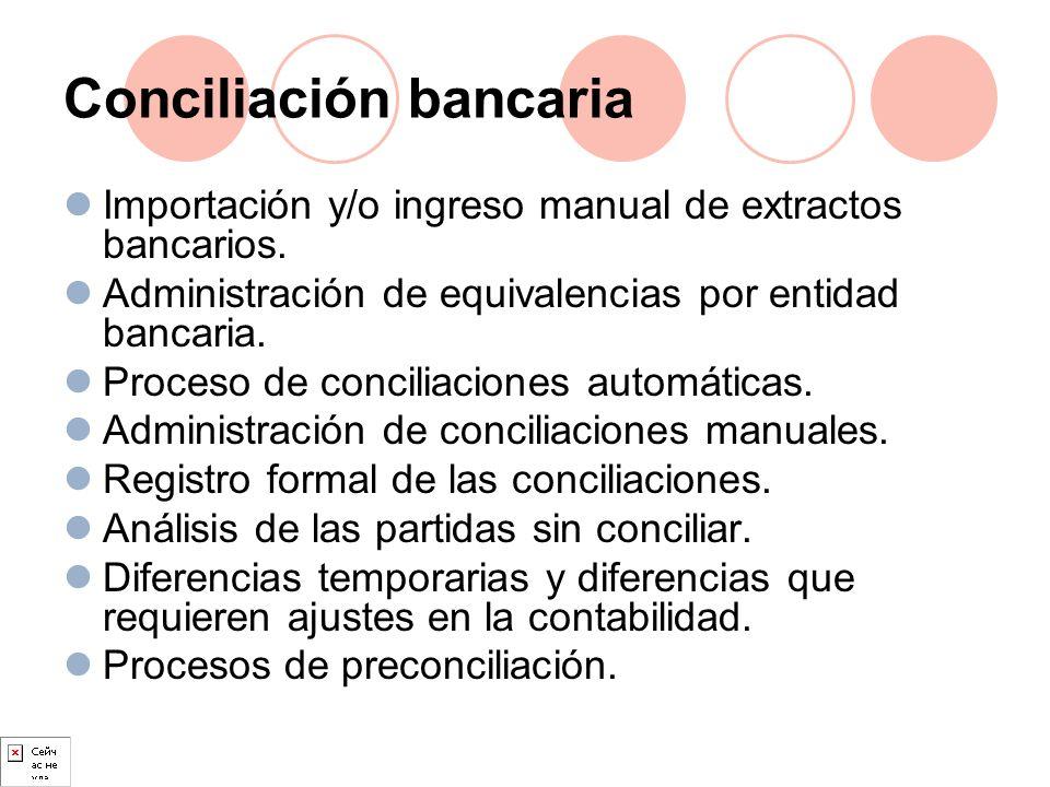Conciliación bancaria Importación y/o ingreso manual de extractos bancarios. Administración de equivalencias por entidad bancaria. Proceso de concilia