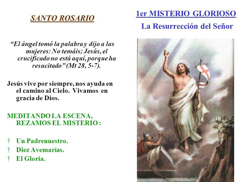 1er MISTERIO GLORIOSO La Resurrección del Señor SANTO ROSARIO El ángel tomó la palabra y dijo a las mujeres: No temáis; Jesús, el crucificado no está